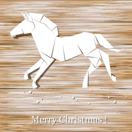 Christmas background   Horse origami made of paper on wood background  Vector