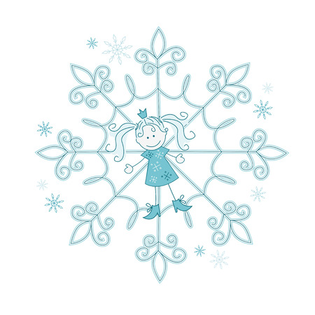 Vector illustration of snowflake-girl Vector