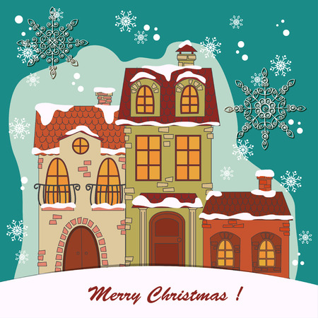 naive: Christmas card  Retro houses in the snow  Vector illustration