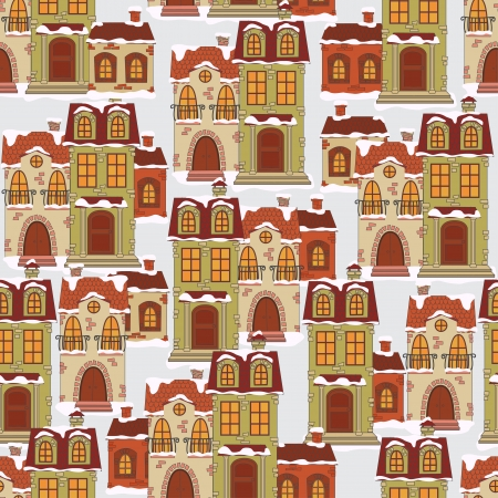 naive: Colorful winter seamless pattern with retro houses