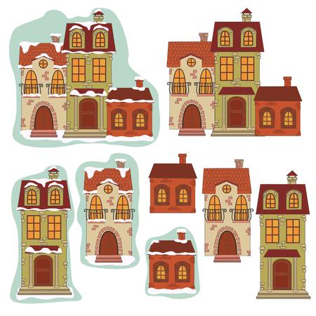 Retro houses  Vector illustration isolated on white background