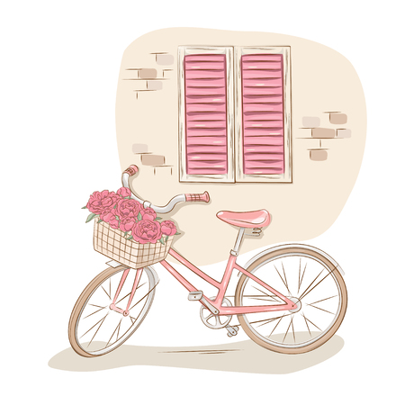 Retro bicycle with basket of flowers near the house wall  Vector
