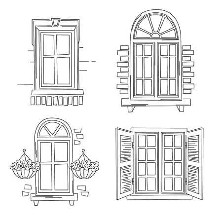 balcony window: Vector illustration of retro windows isolated on white background