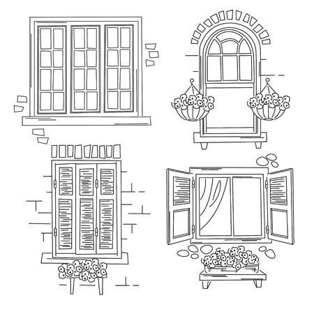 finestra: illustrazione di finestre retrò isolato su sfondo bianco