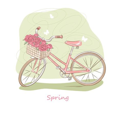 Vector illustration de rétro bicyclette rose avec un panier de fleurs Vecteurs