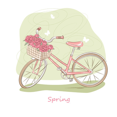 Vector illustration of pink retro bicycle with basket of flowers Vector