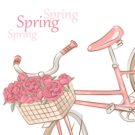 pedal: Retro pink bicycle with basket of flowers on white background Illustration