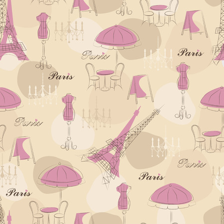 Stylish seamless pattern with eiffel tower, cafe and mannequin Vector