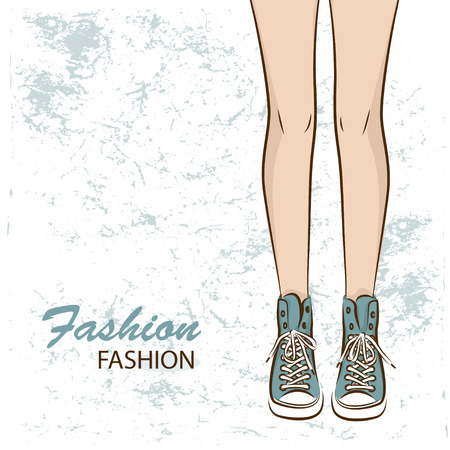 Female slim legs in the sneakers  Vector Vector