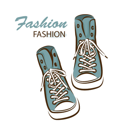 blue shoes: Sneakers on white background Illustration