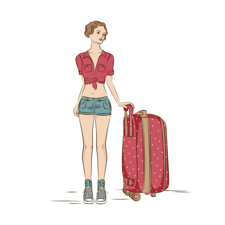 Travel  Young stylish woman with her  suitcase  Illustation on white Vector