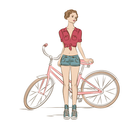 Young stylish woman and her bike on white  Vector
