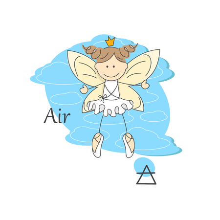 fairy vector: Cute little fairy of air  One of the four elements  Vector Illustration