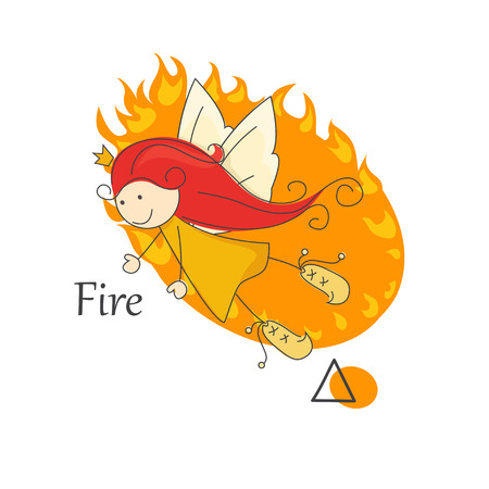 Cute little fairy of fire   One of the four elements  Vector Vector