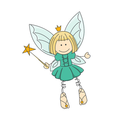 fairy wand: Cute little fairy with magic wand