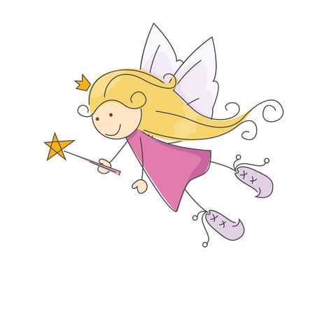 fairy story: Cute little fata con la bacchetta magica