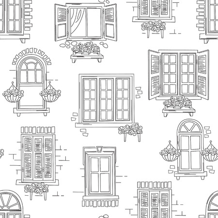 cartoon window: Seamless pattern of retro windows on white background