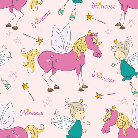 fairy vector: Colorful seamless pattern with magic horse and fairy  Vector