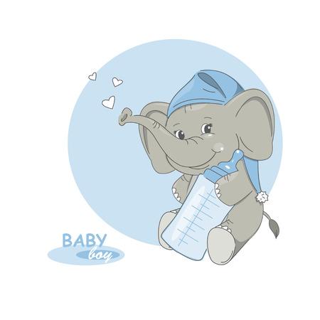Its a boy! Vector illustration of cute little elephant. Vector