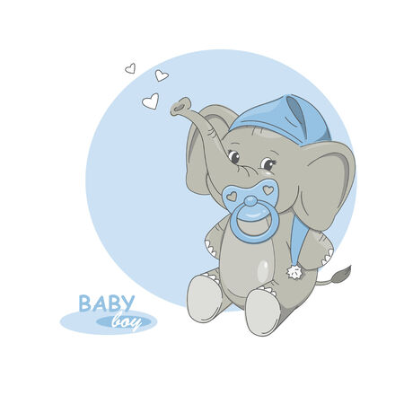 young animal: illustration of cute little elephant.