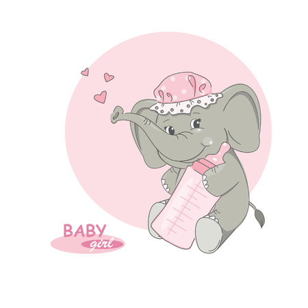 illustration of cute little elephant. Vector