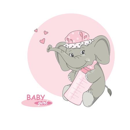 illustration of cute little elephant. Vector
