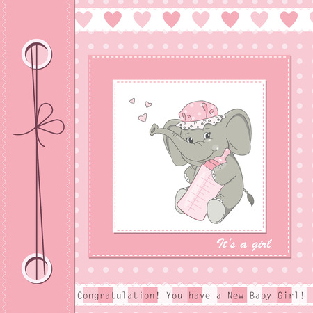 Baby girl shower card with cute elephant.