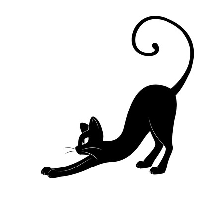 silhouette gatto: Black cat silhouette. Disegno a mano illustrazione isolato su sfondo bianco.