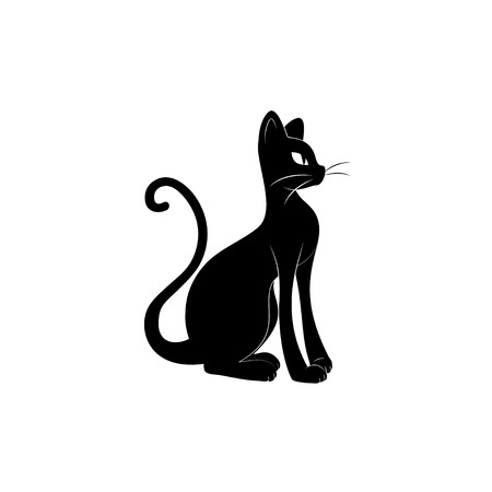 Black cat silhouette. Hand drawing illustration isolated on white background.  イラスト・ベクター素材