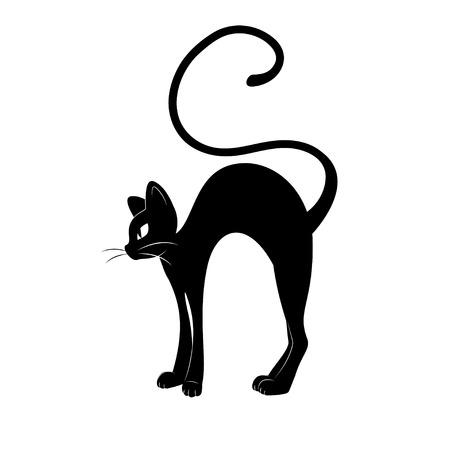 Silueta del gato negro. Ilustración, dibujo a mano aislado sobre fondo blanco.