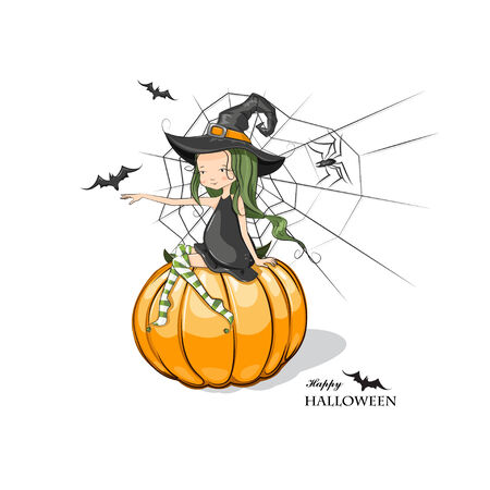 Happy Halloween! Halloween witches sitting on the pumpkin.