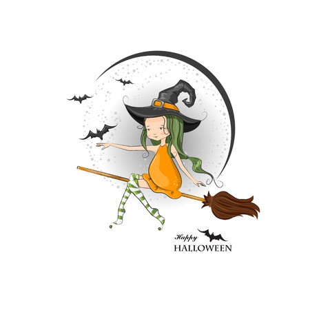scary face: Happy Halloween! Halloween witch fy on the broom. Vector illustration Illustration