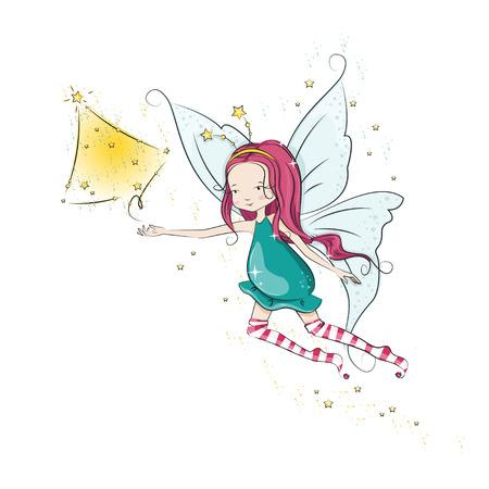 Cute Christmas fairy fly and her hand magic Christmas tree. Vector