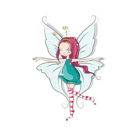 illustration of cute Christmas fairy on white background. Vector