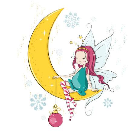 Cute Christmas fairy with Christmas ball.  Vector