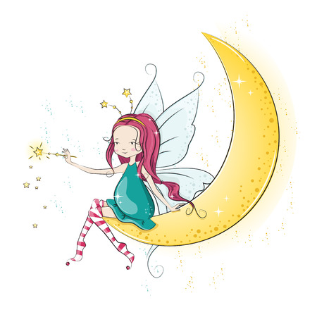 Cute Christmas fairy with magic wand.  Çizim
