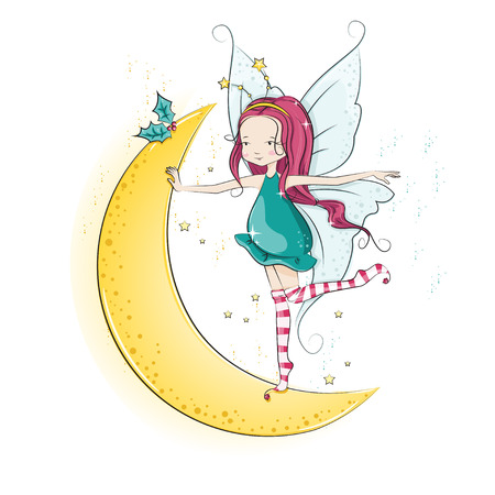 Cute Christmas fairy dancing on the moon.  Vector
