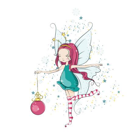 Cute little Christmas fairy. Vector