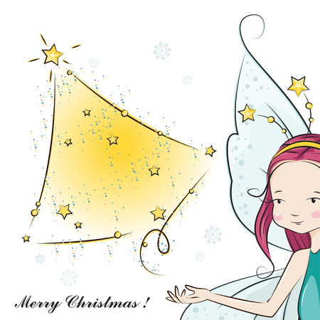 Cute Christmas fairy desiring happiness you! illustration Vector