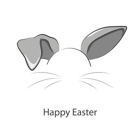 Frohe Ostern. Vektor-Illustration der langen Hasenohren ..
