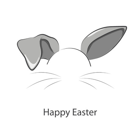 Happy easter. Vector illustration of long rabbit ears..