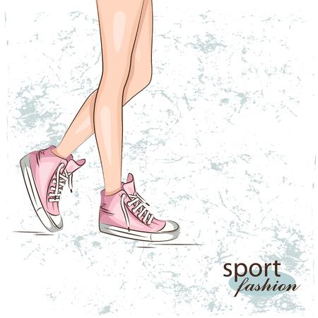 atletismo: delgadas piernas femeninas en las zapatillas de deporte. Vector Vectores