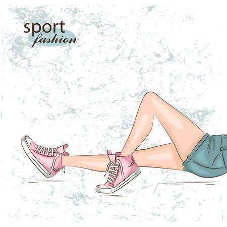 leg: Female slim legs in the sneakers. Vector
