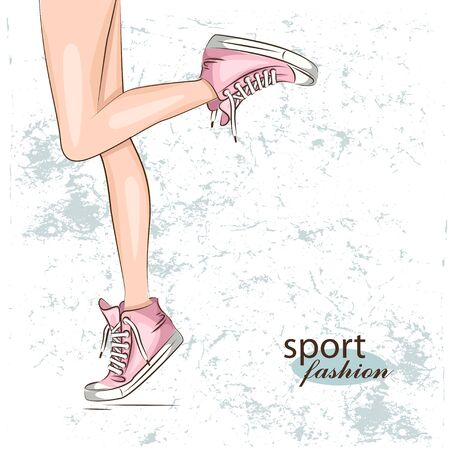 shoes woman: Female slim legs in the sneakers. Vector