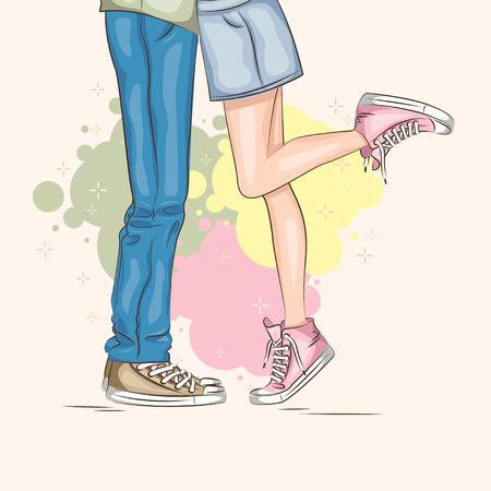 バレンタインの日。愛の若いカップル。ベクトル