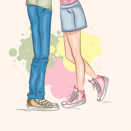 pareja de adolescentes: Día de San Valentín. Pareja joven en el amor. Vector