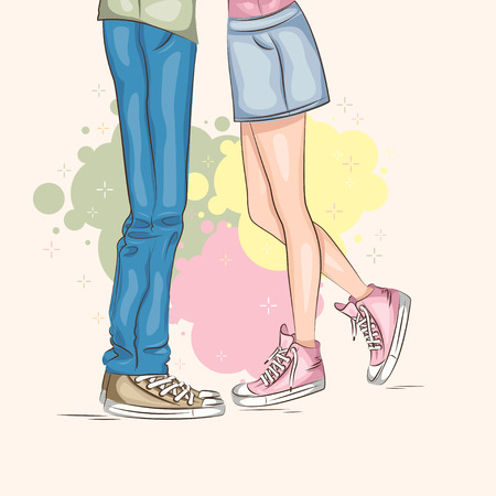 teenage couple: Valentines day. Young Couple in love. Vector