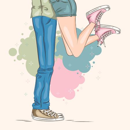 Valentinstag. Junges Paar in der Liebe. Vektor Standard-Bild - 51851876