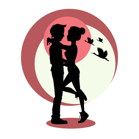 sexual couple: Love and relationships concept. Silhouette of young couple in love. Vector