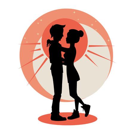donna innamorata: Amore e le relazioni concept. Silhouette di giovane coppia in amore. Vettore
